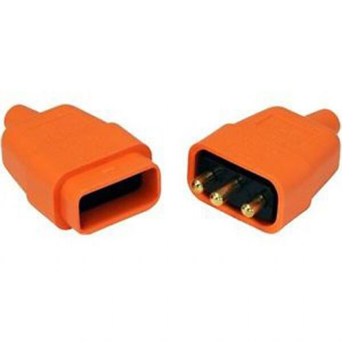 Flex Connector 10amp 3 pin Rubber Connector  Orange Lyvia 9416OR